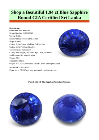 Shop GIA Certified Blue Sapphire Stone Online