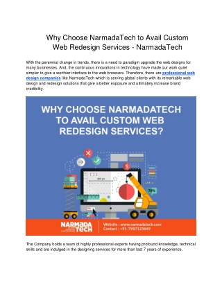 Why Choose NarmadaTech to Avail Custom Web Redesign Services?