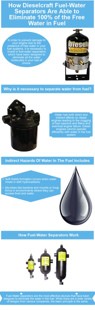 How Dieselcraft Fuel-Water Separators Are Able to Eliminate 100% of the Free Water in Fuel