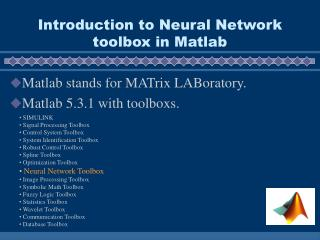 Introduction to Neural Network toolbox in Matlab