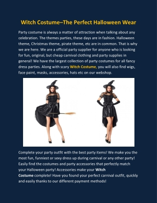 Witch Costume–The Perfect Halloween Wear