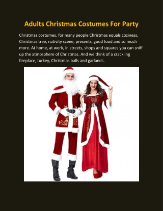 Adults Christmas Costumes For Party