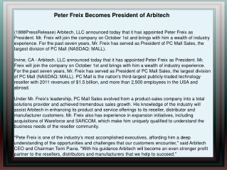 Peter Freix Becomes President of Arbitech