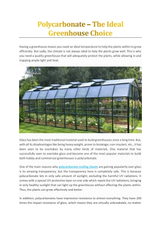 Polycarbonate – The Ideal Greenhouse Choice
