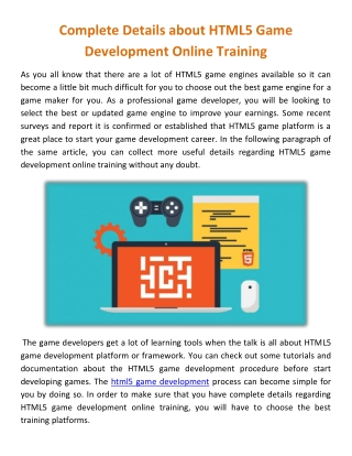 Complete Details about HTML5 Game Development Online Training