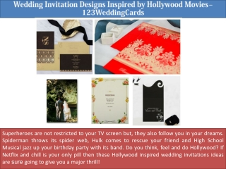 Wedding Invitation Designs Inspired by Hollywood Movies – 123WeddingCards