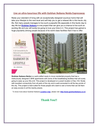 Live an Extraordinary lifestyle with Gulshan Ikebana Noida
