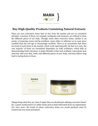 Buy High-Quality Products Containing Natural Extracts