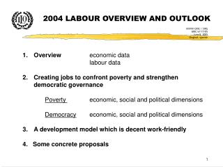 2004 LABOUR OVERVIEW AND OUTLOOK