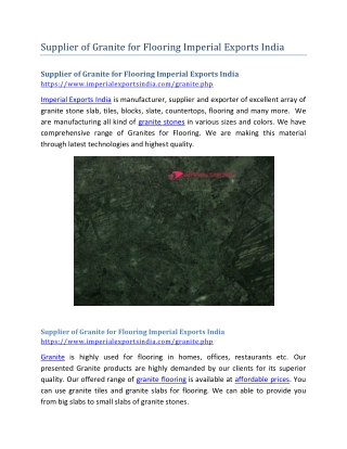 Supplier of Granite for Flooring Imperial Exports India