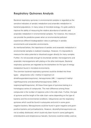 Respiratory Quinones Analysis