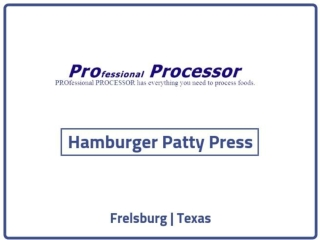 Hamburger Patty Press on sale | ProProcessor