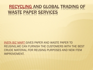 Insta Biz Mart Recycling And Global Trading