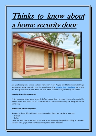 Thinks to know about a home security door