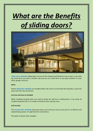 What are the Benefits of sliding doors?