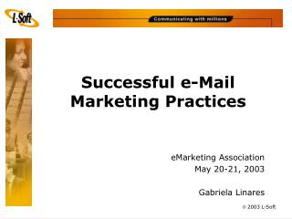 Successful e-Mail  Marketing Practices