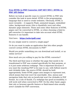 html to pdf for .net