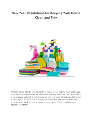 New Year Resolutions for Keeping Your House Clean and Tidy