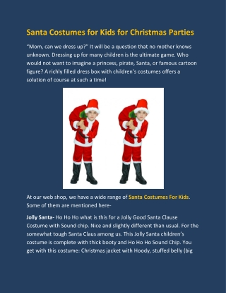 Santa Costumes for Kids for Christmas Parties