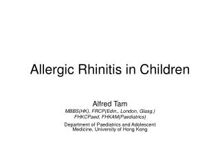 Allergic Rhinitis in Children