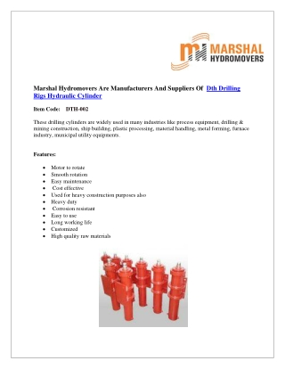 DTH Drilling Rigs Hydraulic Cylinder|Marshal Haydromovers