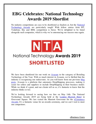 EBG Celebrates: National Technology Awards 2019 Shortlist   eBusiness Guru
