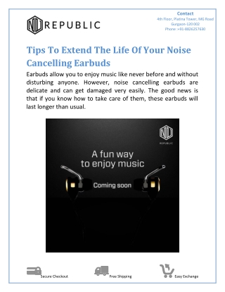 Tips To Extend The Life Of Your Noise Cancelling Earbuds
