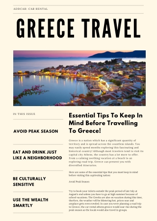 addCar: Essential Tips To Keep In Mind Before Travelling To Greece
