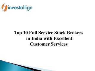 Top 10 Full Service Stock Brokers in India 2019