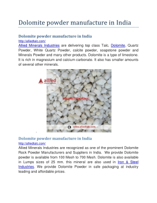 Dolomite powder manufacture in india