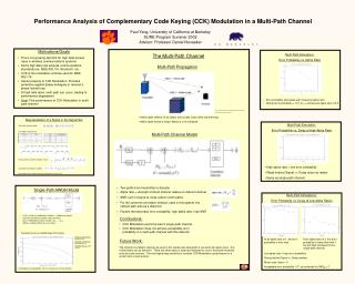 Performance Analysis of Complementary Code Keying (CCK) Modulation in a Multi-Path Channel