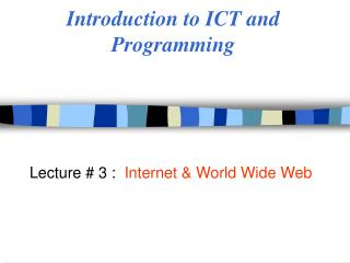 Introduction to ICT and Programming
