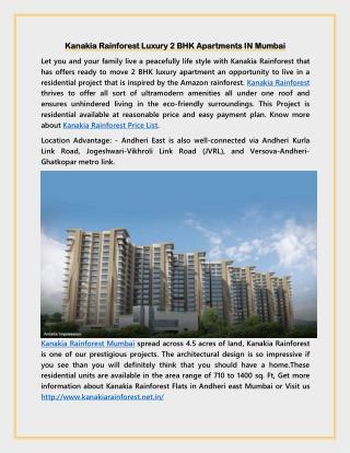 Kanakia Rainforest Luxury 2 BHK Apartments IN Mumbai
