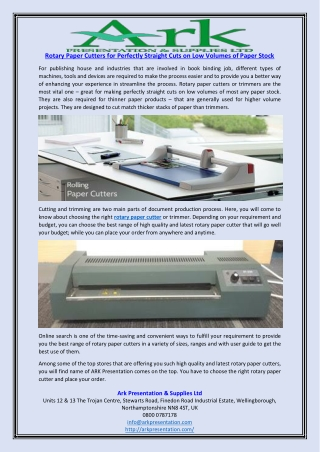 Rotary Paper Cutters for Perfectly Straight Cuts on Low Volumes of Paper Stock
