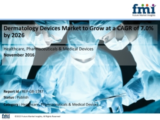 Dermatology Devices Market to be valued at US$ 5,307.6 Mn by 2026