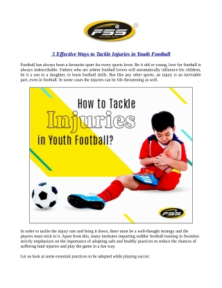 5 Effective Ways to Tackle Injuries in Youth Football