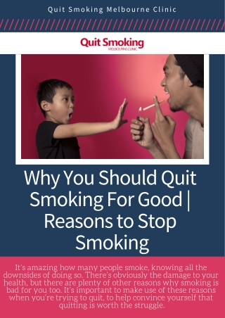 Why You Should Quit Smoking For Good | Reasons to Stop Smoking