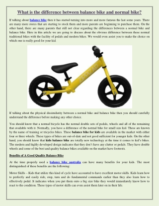 What is the difference between balance bike and normal bike?