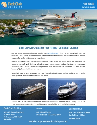 Book Carnival Cruises for Your Holiday- Deck Chair Cruising