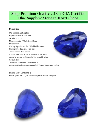 Buy Premium Quality Certified Blue Sapphire Stone