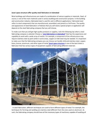 Jazari space structure offer quality steel fabricators in Islamabad