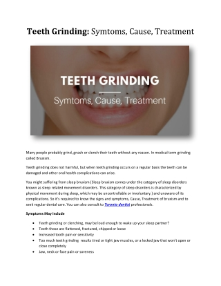 Teeth Grinding: Symtoms, Cause, Treatment