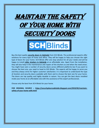 Maintain the safety of your home with security doors