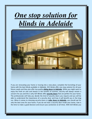 One stop solution for blinds in Adelaide