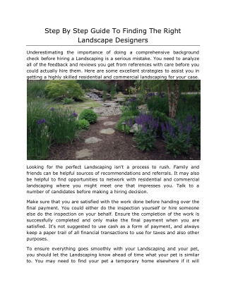 Step By Step Guide To Finding The Right Landscape Designers