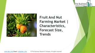Fruit And Nut Farming Market   Characteristics, Forecast Size, Trends