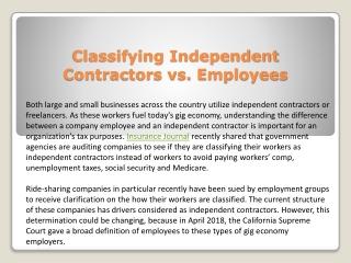 Classifying independent contractors vs. employees