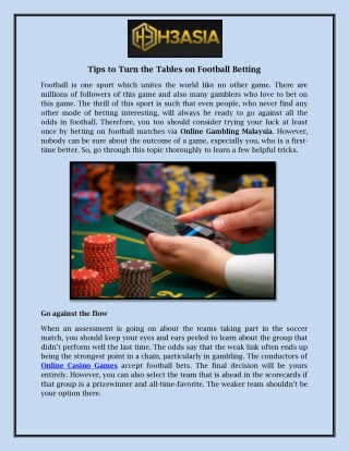 Tips to Turn the Tables on Football Betting