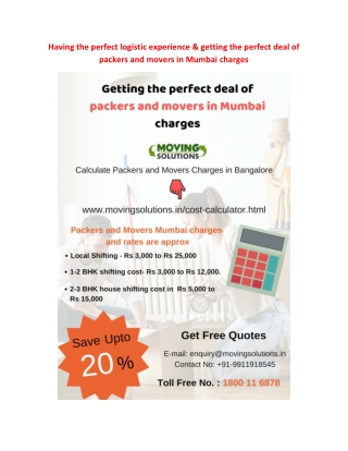Having the perfect #logistic experience & getting the perfect deal of packers and movers in Mumbai charges