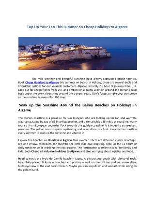 Cheap Holidays to Algave 2019/2020   Algarve Holidays